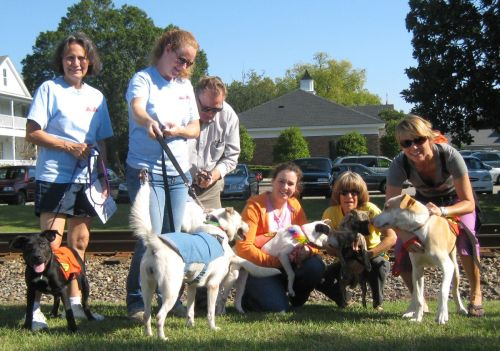 SPCA Volunteers brought SPCA dogs to be blessed at the Farmer's Market in Summerville during a Blessing of the Animals event. From left to right are volunteers: Patti Kiraly, Cheryl Bruns, Terry Kiraly, Carla Westmoreland, Cathy Eckels, and Jennifer Swenning.